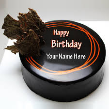 happy birthday chocolate round cake with custom name