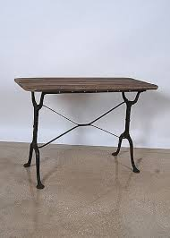 Antique Bistro Table Vintage Wood Top Cast Iron Base Bistro Table Office Space