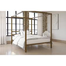 Modern Canopy Bed Frame Dhp Modern Canopy Metal Bed Free Shipping Today
