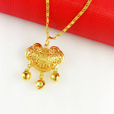 gold lock necklace images New fashion jewelry vacuum plating 24k gold necklace pendant jpg