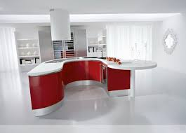 best red color pvc kitchen cabinets features curved shape kitchen