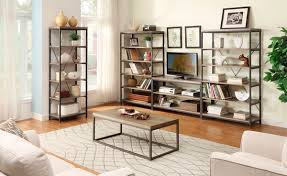 Weathered Bookcase Homelegance Daria Cocktail Table In Metal Frame With Grey