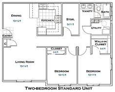 really like this one garage apartment floor plan 2 bedrooms 2