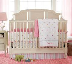 Nursery Bedding And Curtains by Blue Wall Girls Nursery Bedding Combined With White Wooden Bed