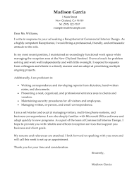 Best Font Resume Cover Letter by Best Receptionist Cover Letter Examples Livecareer
