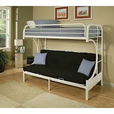 Futon Bunk Bed With Mattress Included On Top And Futon On The Bottom It The White