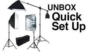 studio light boom stand pro 3 lights photo studio video continuous softbox lighting kit boom