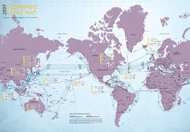 World Map 1950 Submarine Cable Map