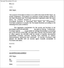 asset purchase agreement template sample letter of intent to