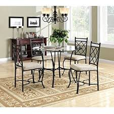 cheap dining room sets amazon com 5 pc metal and glass dining room table set in a