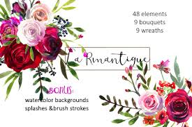 burgundy red pink flowers clipart illustrations creative market
