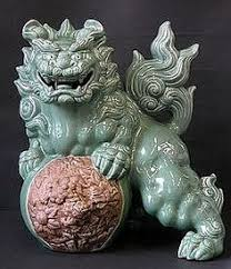 foo lion statue japanese karajishi shishi lion foo dog statue okimono japanese