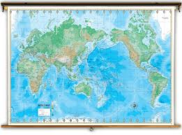 Asia Map Labeled by Advanced World Physical Classroom Map On Spring Roller Universal Map