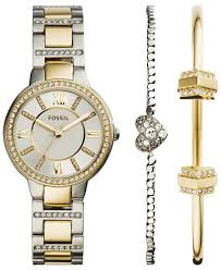 bracelet watches fossil images Lyst fossil women 39 s virginia crystal accent two tone stainless jpeg
