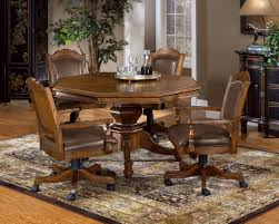 Poker Table Chairs With Casters by Poker Table With Leather Back Game Chairs Classic Wood Game