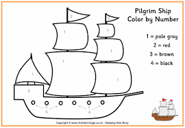 pilgrim ship colour by number thanksgiving colouring pages for