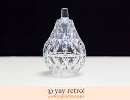 sparkley pressed glass pear pot vintage shop retro china