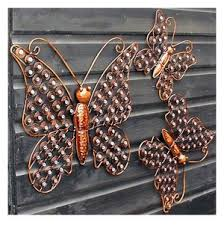 set of 3 copper garden butterfly wall decorations