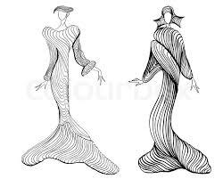 designing evening dresses based on sand dunes stock photo