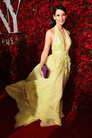 lucy liu floral embellished yellow halter plunging prom dress tony