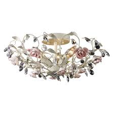 Crystal Flush Mount Ceiling Light Fixture by Heritage 3 Light Floral Semi Flush Mount Ceiling Lighting
