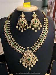green stone necklace set images Imitation green stone necklace set from temple collections south jpg