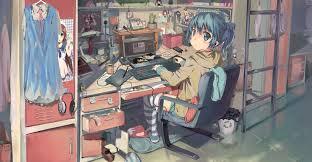 minecraft ribbon wallpaper anime hair room interior sitting