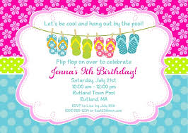 flip flops pool birthday invitations swimming pool