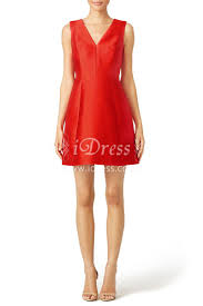 red cocktail short red sleeveless a line draped v neck slim cocktail dress idress