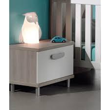 chevet chambre contemporain à 1 tiroir pour chambre bébé coloris greige blanc