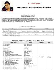 Sample Resume For Document Controller by Document Controller And Admin Executive Murugesan Sa Copy