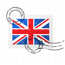 postmark with great britain flag and postage stamp vector clipart