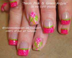 nail art tutorial for beginners argyle nails pink and lime