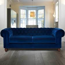 Blue Velvet Chesterfield Sofa Chesterfield 3 Seater Velvet Sofa Blue All Sofas Living Room