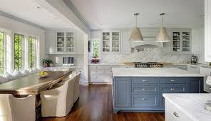 gray kitchen cabinets blue island blue gray kitchen island with honed white marble
