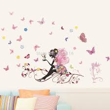 online get cheap girly wall stickers aliexpress com alibaba group fairy wall stickers diy butterflies mural art decals for living room girs bedroom decor china
