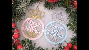 personalised crown bauble keepsake baby u0027s first christmas tree