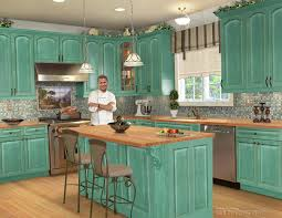 vintage beach cottage kitchens designs with blue color cabinet