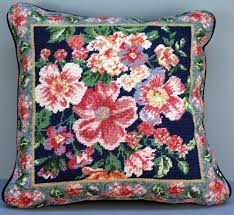 needlepoint taspestry cushion cover stitched wool on canvas