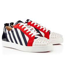 classic christian louboutin louis junior white spikes navy white