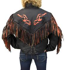 motorcycle jacket vest western orange flame fringe leather jacket item lj259 leather