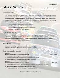 Resume Templates Exles by Cool Auto Technician Resume Templates On Automotive Technician
