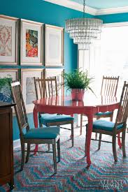 colorful painted dining table inspiration via atlanta homes magazine
