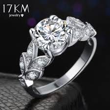 rose color rings images 17km silver color crystal flower wedding rings for women jewelry jpg