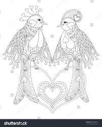 lovely couple exotic bird sitting on stock vector 548302579