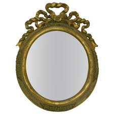 Gold Vanity Mirror Italian Hand Carved Gold Leaf Oval Vanity Mirror 20th Century For