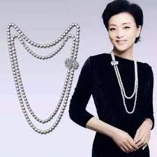 long necklace pearl images Luxury double swans pearl necklace double strands natural pearl jpg