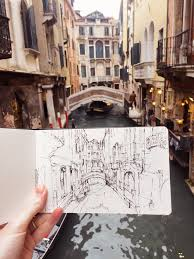 sketching the light and landscape in venice