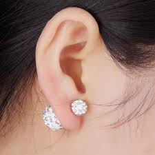 sided stud earrings shop earrings silver stud sided balls earrings