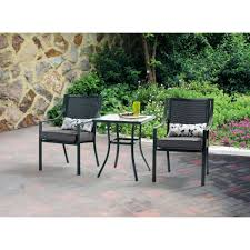 High Patio Dining Set Mainstays Wesley Creek 3 Bistro Set With Swivel Chairs